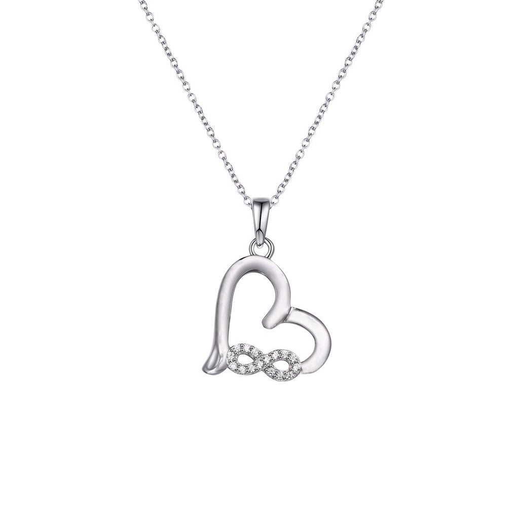 Sterling Silver Cubic Zirconia Infinity Heart Necklace