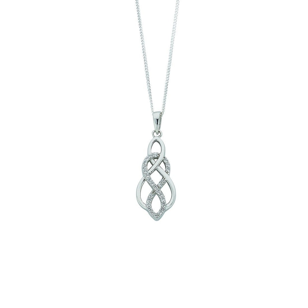 Sterling Silver Cubic Zirconia Interlinked Infinity Necklace