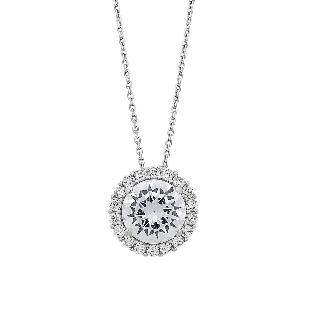 Sterling Silver Large Cubic Zirconia Halo Necklace