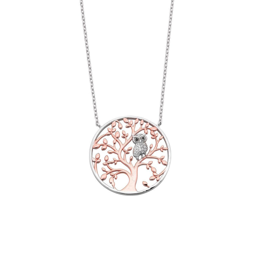 Sterling Silver Rose Plated Tree of Life with Owl Necklace
