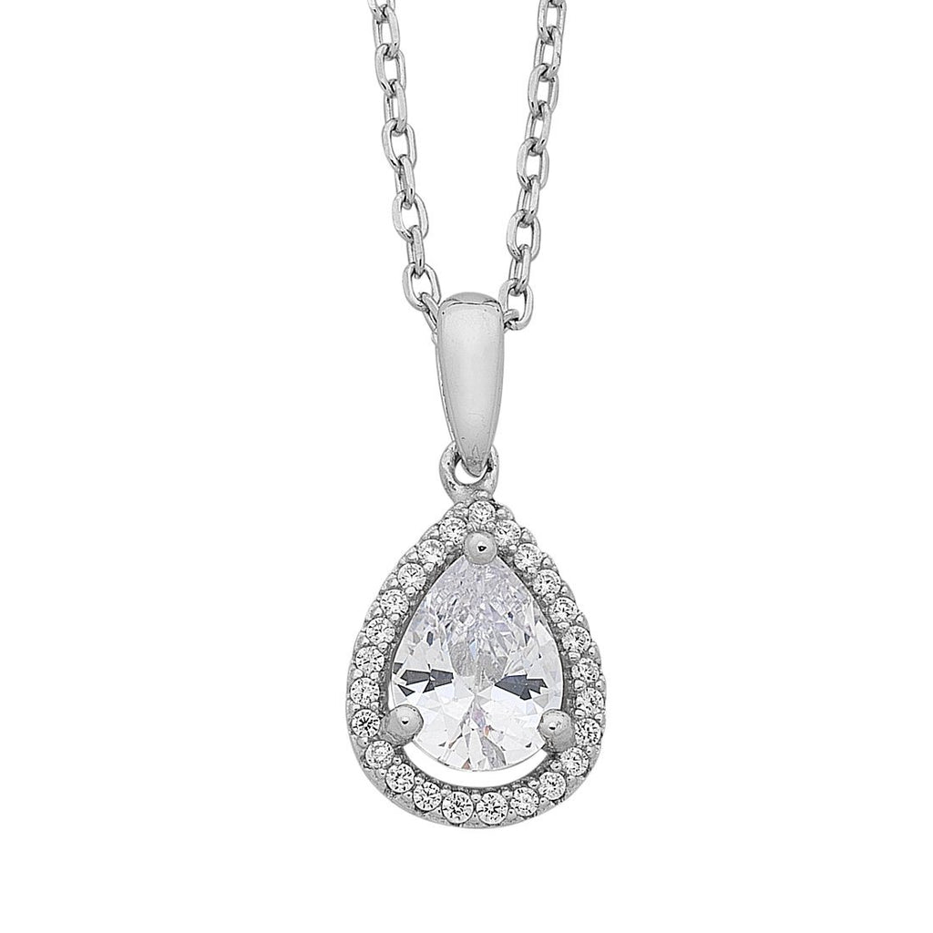 Sterling Silver Pear Cubic Zirconia Halo Necklace Necklaces Bevilles