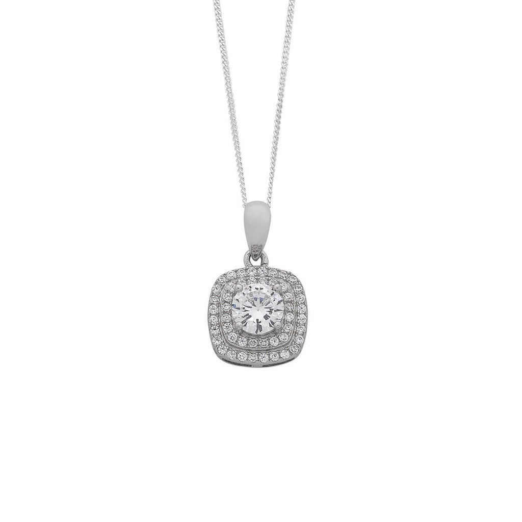 Sterling Silver Cubic Zirconia Double Halo Necklace Necklaces Bevilles