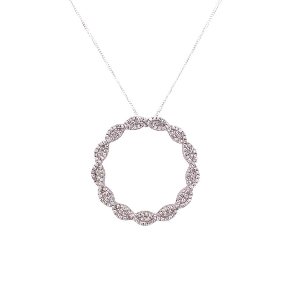 Sterling Silver Cubic Zirconia Twisted Open Circle Necklace