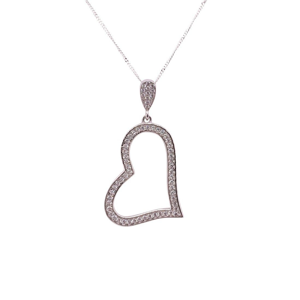 Sterling Silver Cubic Zirconia Open Heart Necklace Necklaces Bevilles