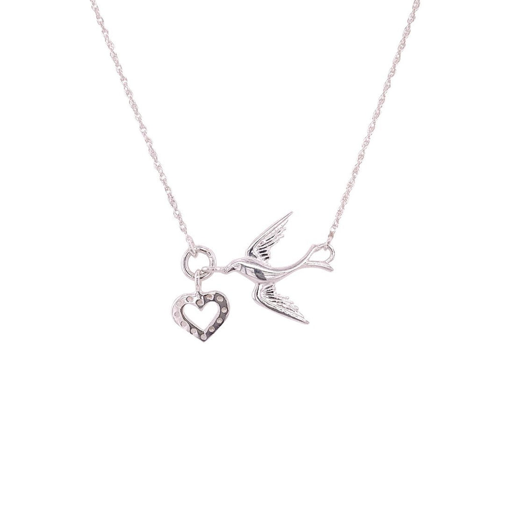 Sterling Silver Cubic Zirconia Dove and Heart Necklace