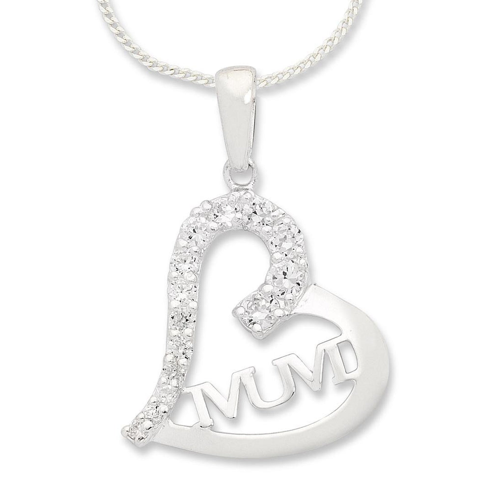 Sterling Silver White Cubic Zirconia Mum Heart Necklace