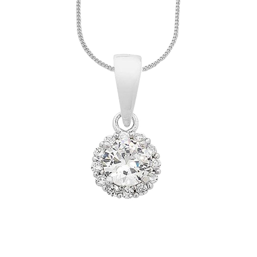 Sterling Silver Cubic Zirconia Halo Necklace Necklaces Bevilles