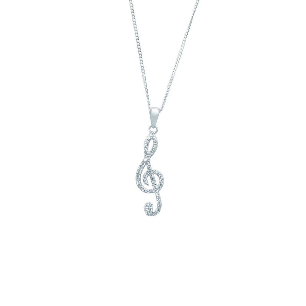 Sterling Silver Cubic Zirconia Treble Clef Pendant
