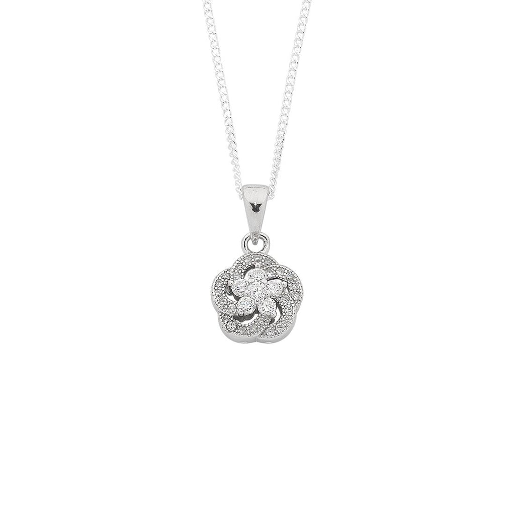 Sterling Silver Cubic Zirconia Open Flower Necklace Necklaces Bevilles