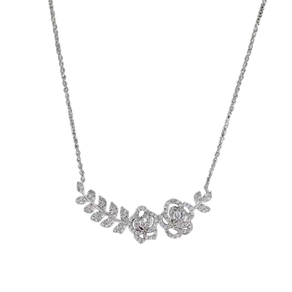 Sterling Silver Cubic Zirconia Leaf Necklace Necklaces Bevilles