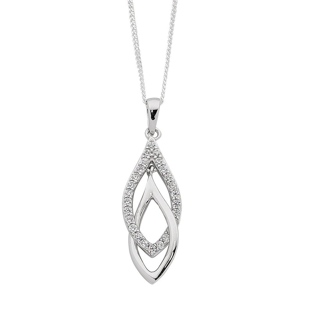 Sterling Silver Interlocked Drop Necklace