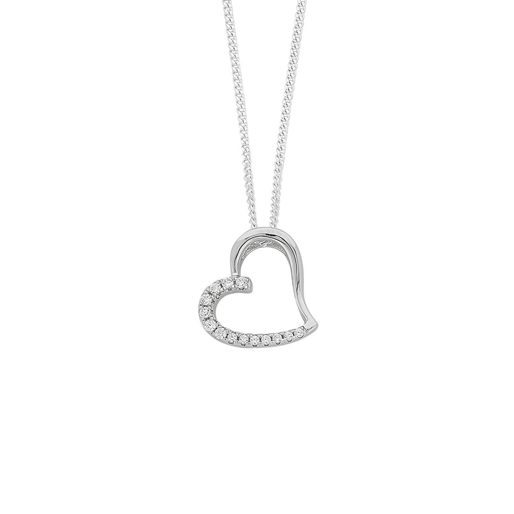 Sterling Silver Open Heart Cubic Zirconia Necklace Necklaces Bevilles