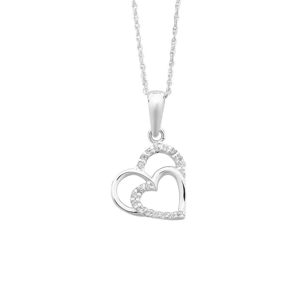 Sterling Silver Double Open Heart Cubic Zirconia Necklace Necklaces Bevilles