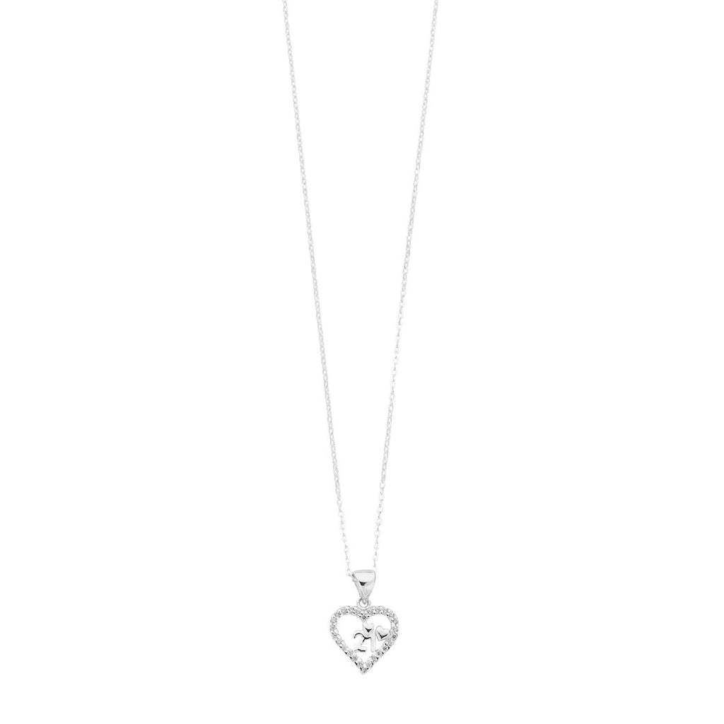 Sterling Silver 21 Pendant Curb Necklace with Cubic Zirconia And Open Heart Necklaces Bevilles