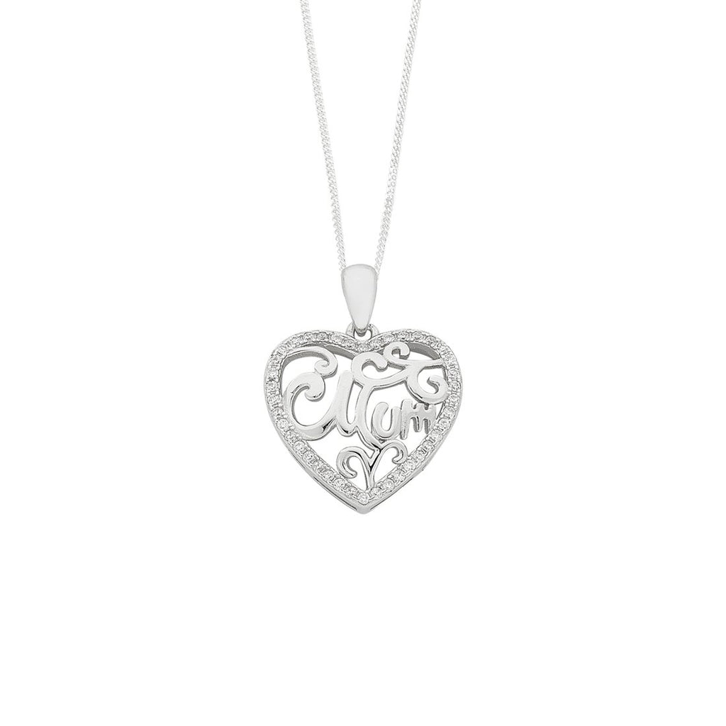 Sterling Silver 'Mum' Cubic Zirconia Heart Necklace