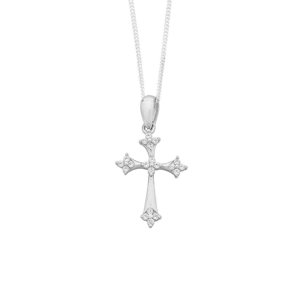 Sterling Silver Cubic Zirconia Set Cross Necklace Necklaces Bevilles