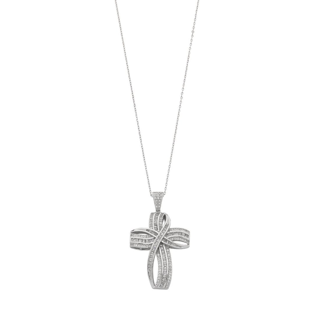 Sterling Silver Cubic Zirconia Large Cross Necklace