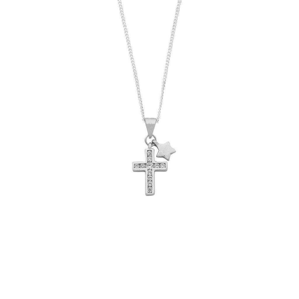 Sterling Silver Cross and Star Cubic Zirconia Necklace Necklaces Bevilles