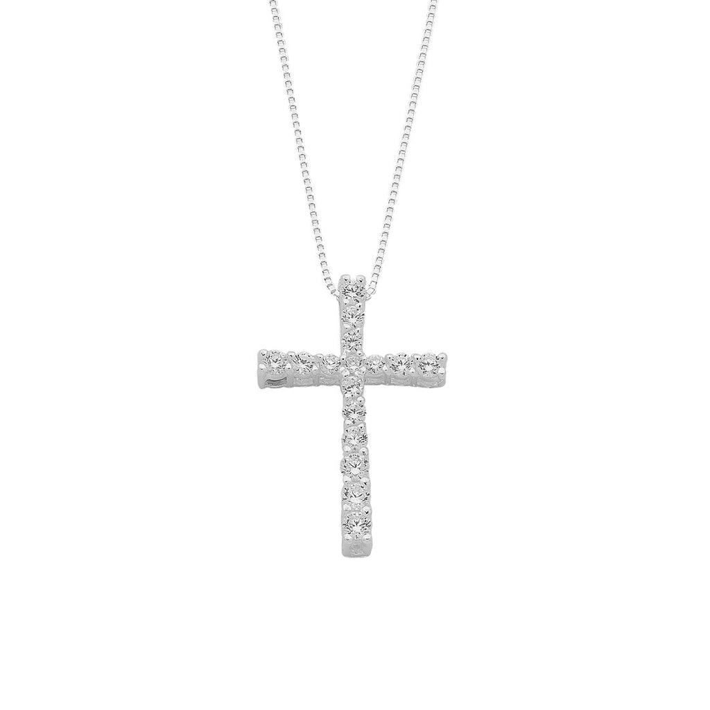 Sterling Silver Cubic Zirconia Claw Set Cross Necklace