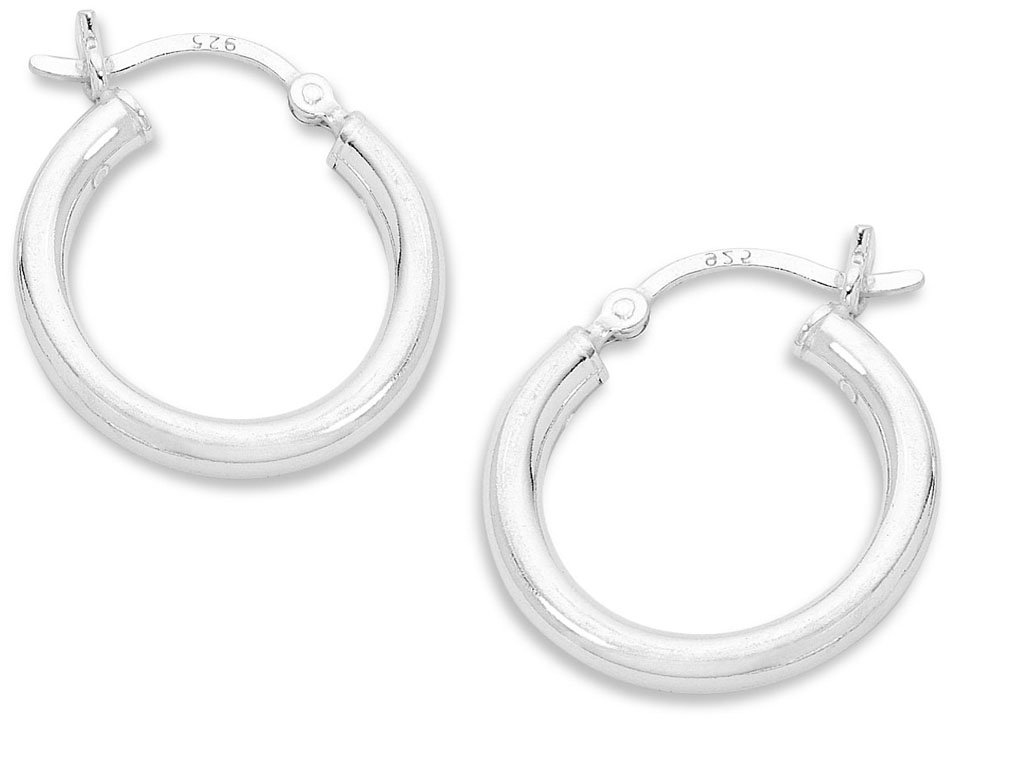 Sterling Silver 15mm Plain Hoop Earrings