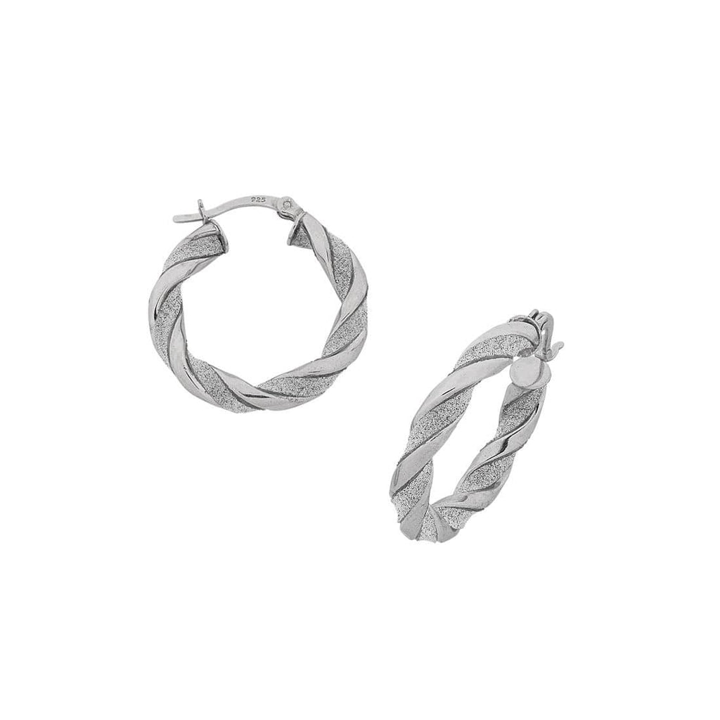 Sterling Silver 25mm Twisted Glitter Hoop Earrings Earrings Bevilles