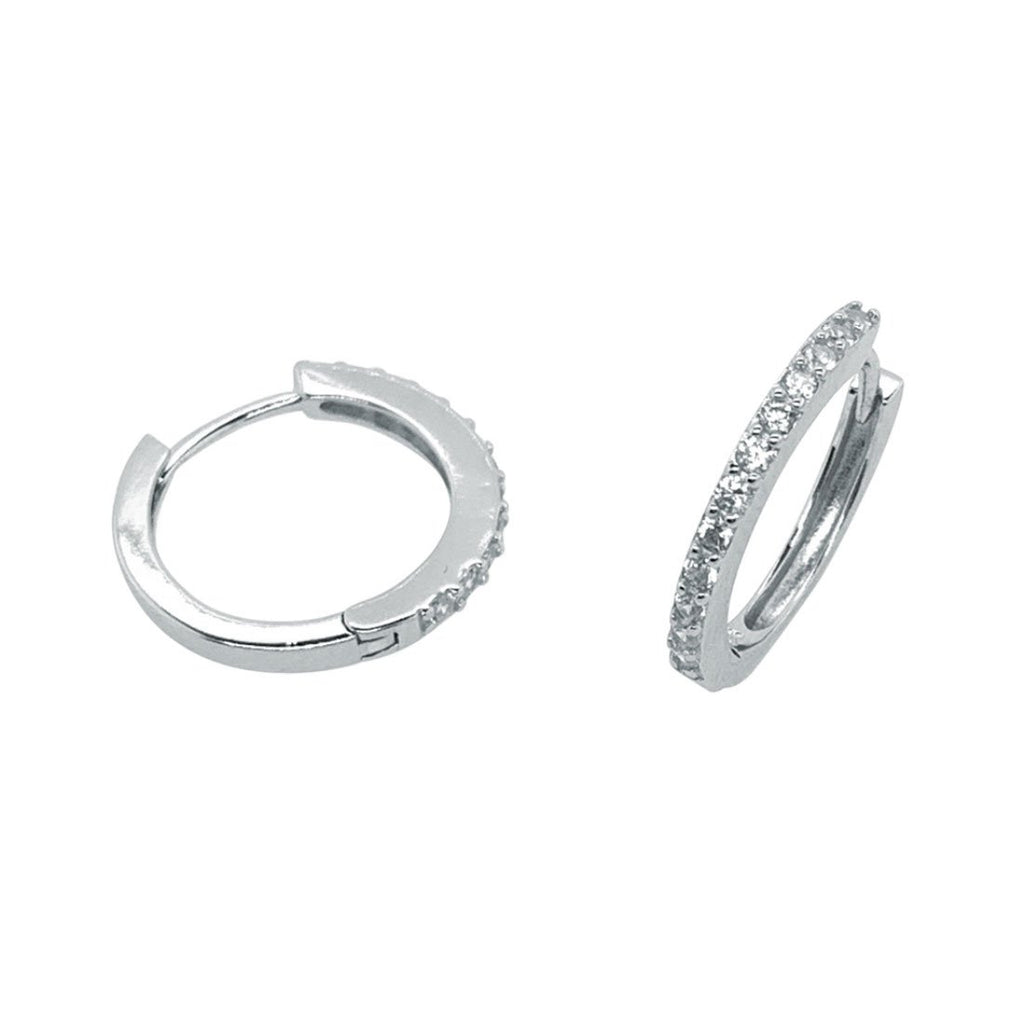 Sterling Silver Cubiz Zirconia Small Hoop Earrings