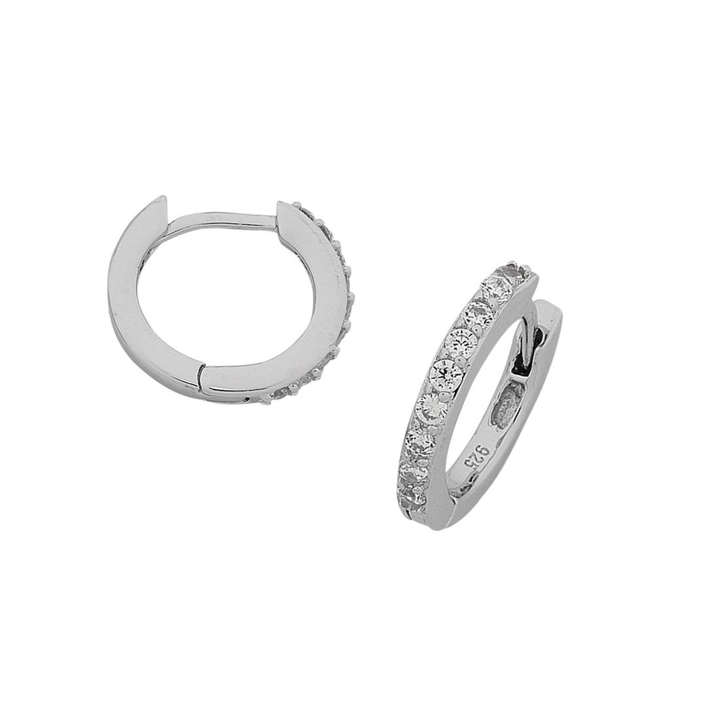 Sterling Silver Cubic Zirconia Claw Set Hoop Earrings