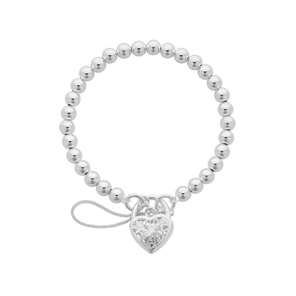Sterling Silver Plain Filigree Heart and Ball Padlock Bracelet Bracelets Bevilles
