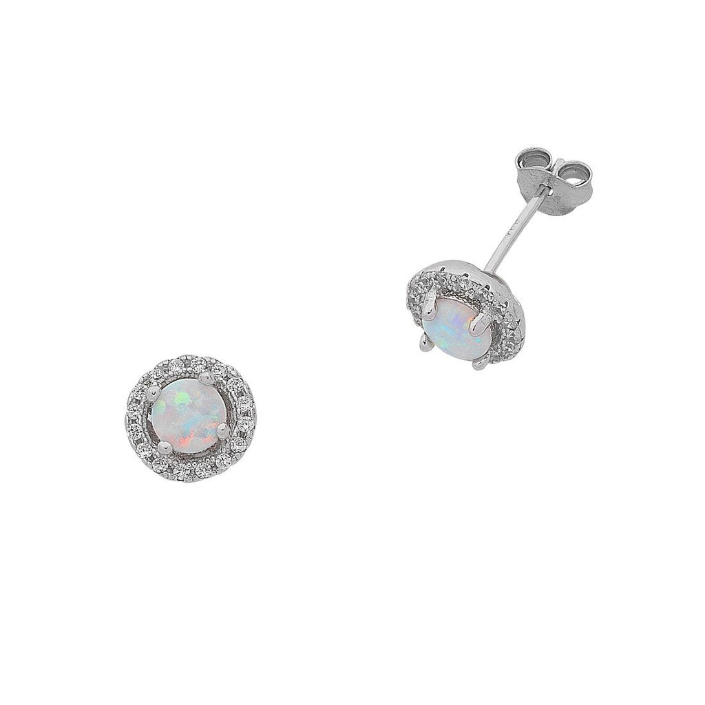Sterling Silver Synthetic Opal and Cubic Zirconia Earrings Earrings Bevilles