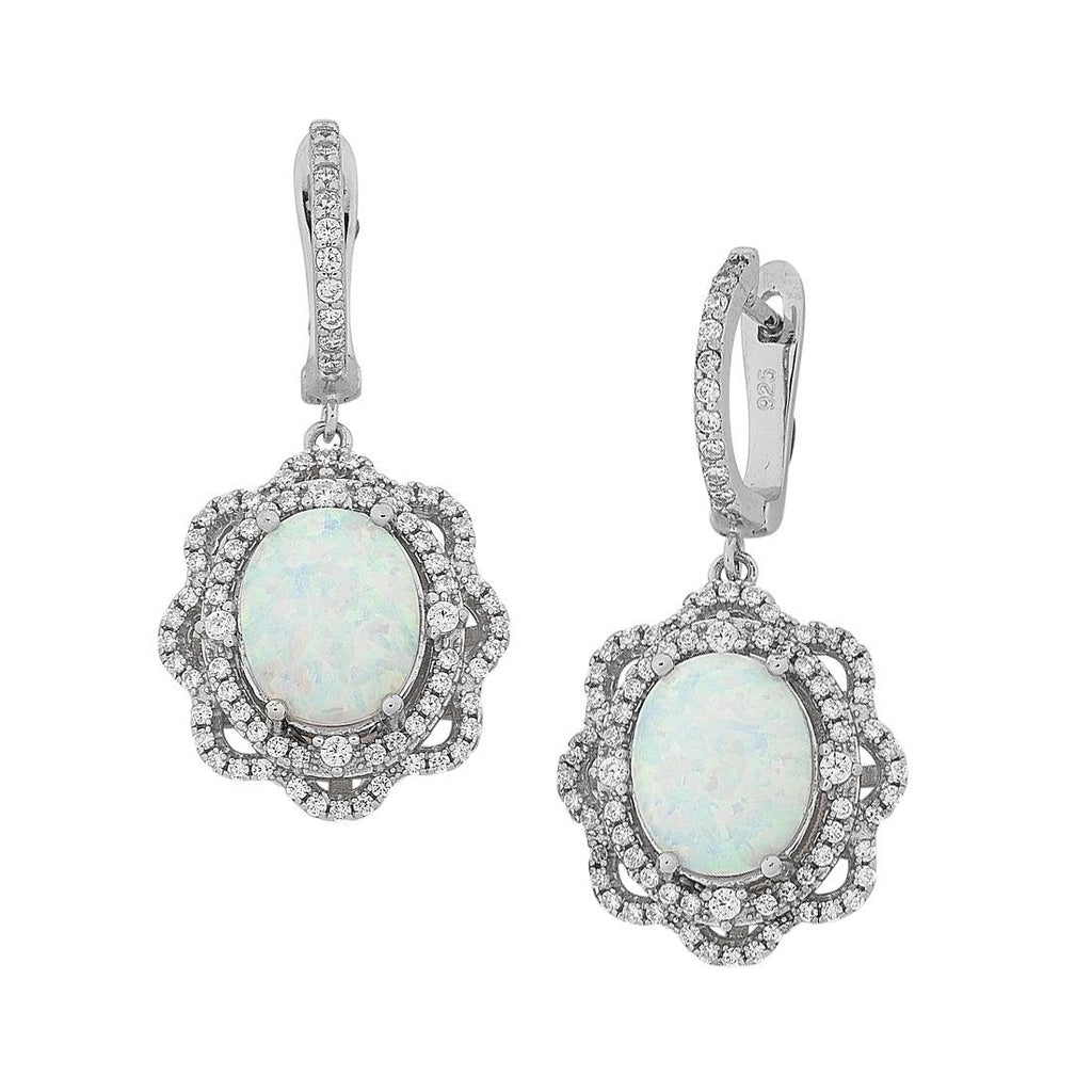 Sterling Silver Created Opal and Cubic Zirconia Earrings Earrings Bevilles