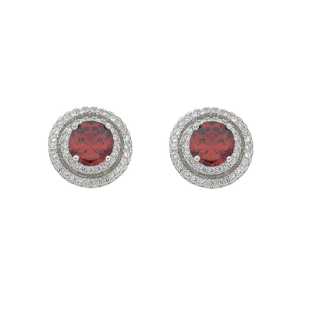 January Birthstone Sterling Silver Red Cubic Zirconia Halo Earrings Earrings Bevilles