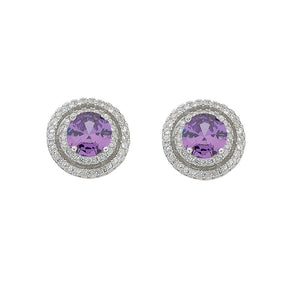 February Birthstone Sterling Silver Purple Cubic Zirconia Halo Earrings