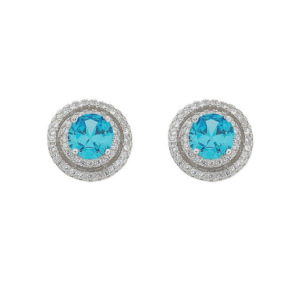 March Birthstone Sterling Silver Light Blue Cubic Zirconia Halo Earrings Earrings Bevilles