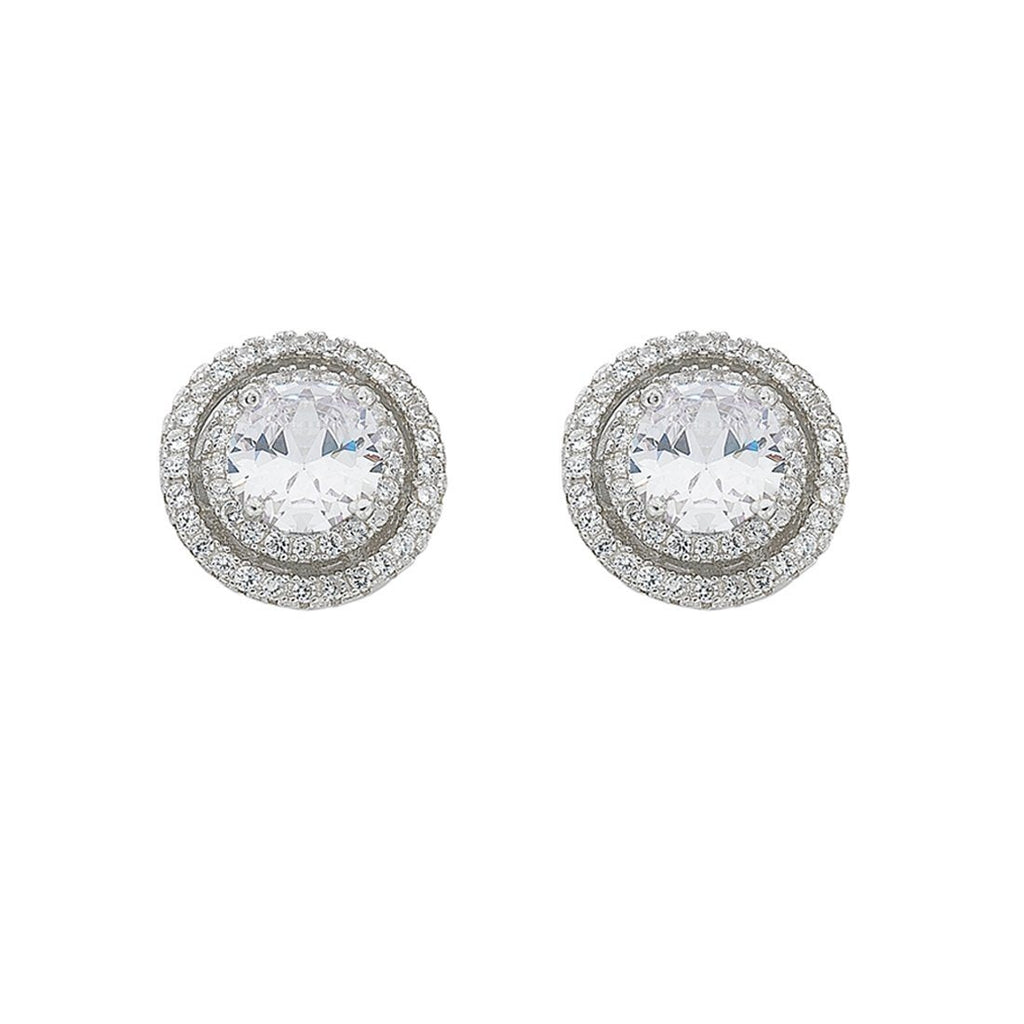 April Birthstone Sterling Silver White Cubic Zirconia Halo Earrings Earrings Bevilles