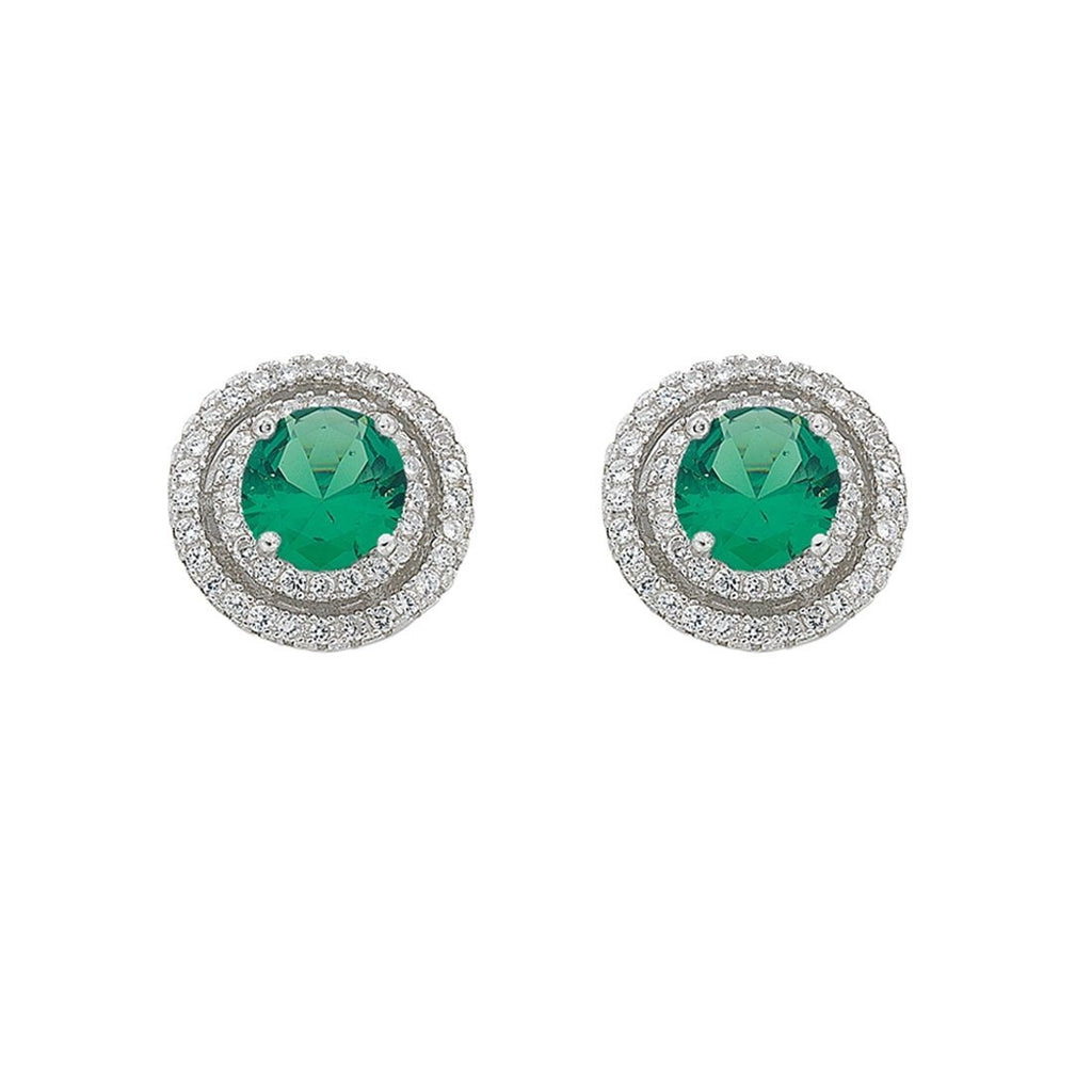 May Birthstone Sterling Silver Green Cubic Zirconia Halo Earrings Earrings Bevilles