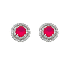 July Birthstone Sterling Silver Dark Pink Cubic Zirconia Halo Earrings
