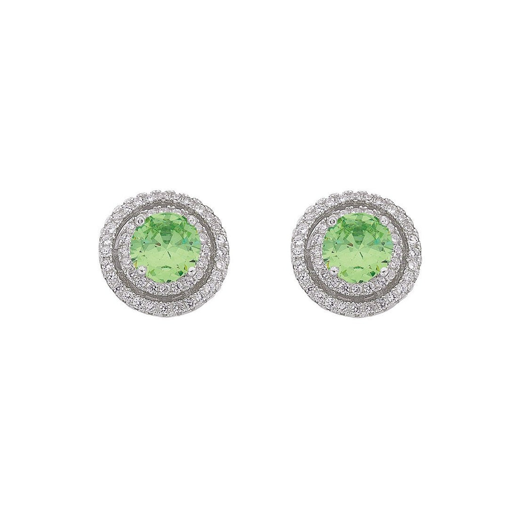 August Birthstone Sterling Silver Light Green Cubic Zirconia Halo Earrings Earrings Bevilles