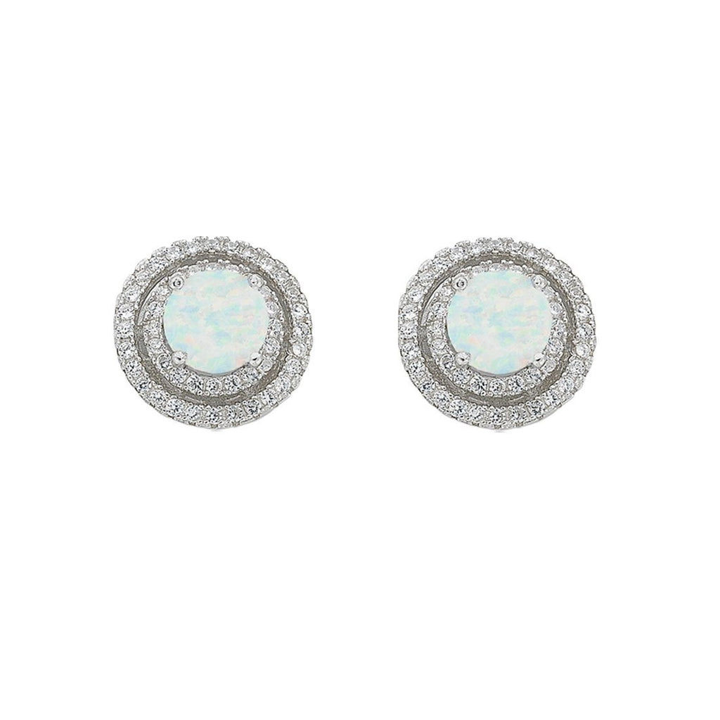 October Birthstone Sterling Silver Synthetic Opal & Cubic Zirconia Halo Earrings Earrings Bevilles