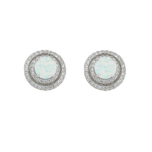 October Birthstone Sterling Silver Synthetic Opal & Cubic Zirconia Halo Earrings