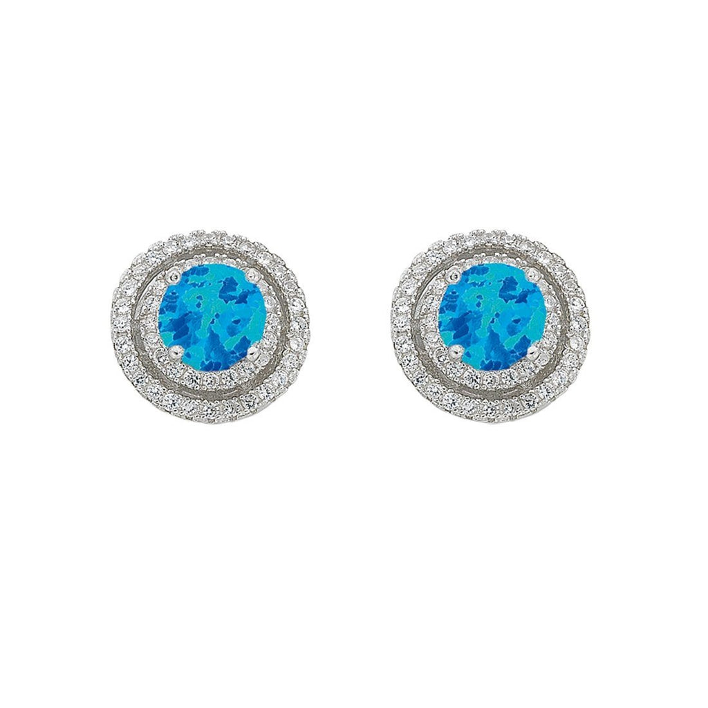 December Birthstone Sterling Silver Synthetic Blue Opal & Cubic Zirconia Halo Earrings Earrings Bevilles