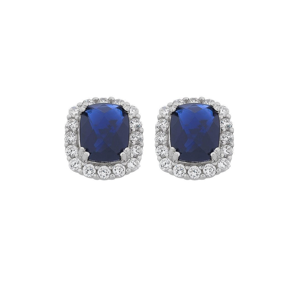 Sterling Silver Blue Oval Cubic Zirconia Stud Earrings