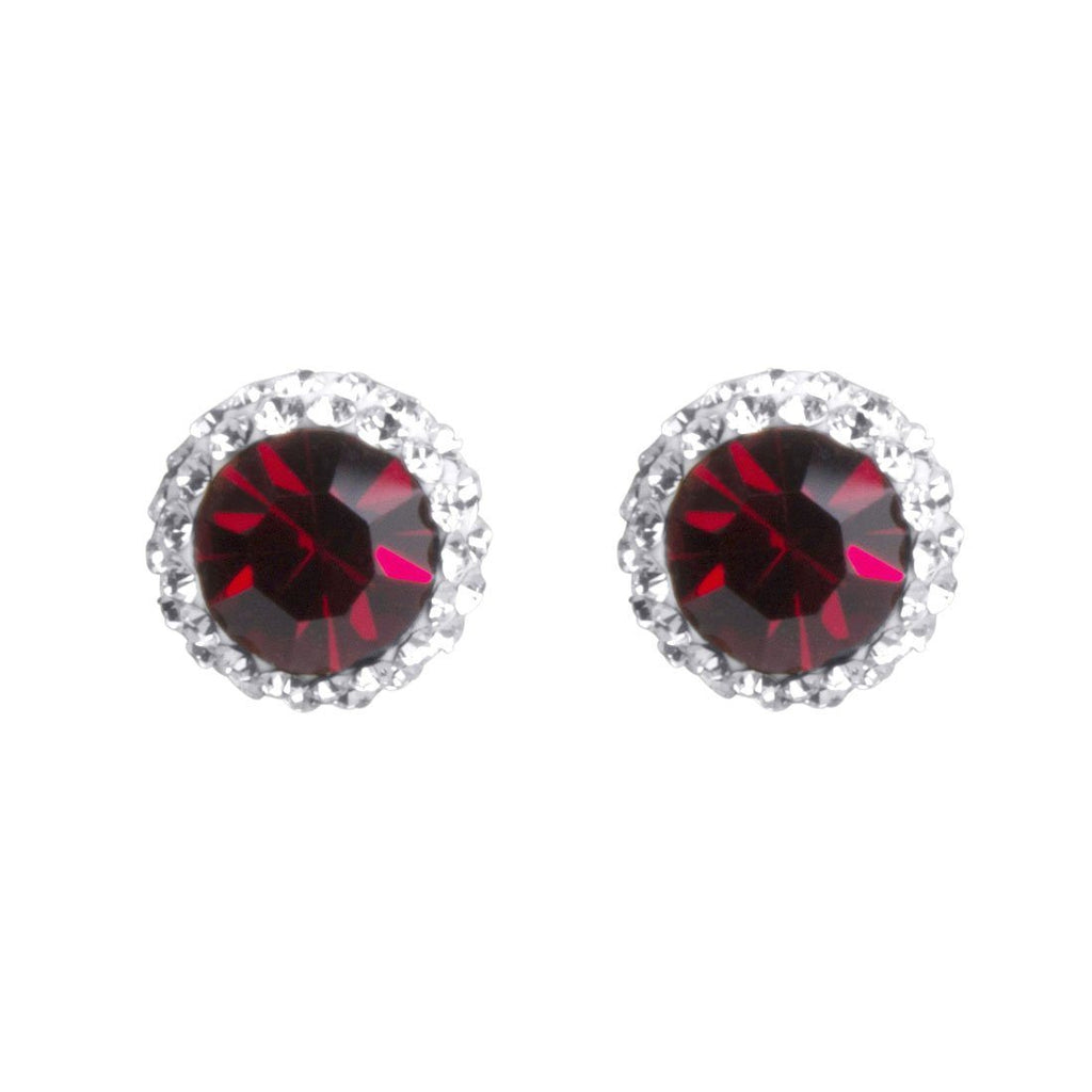 Sterling Silver Red Crystal January Birthstone Earrings Earrings Bevilles