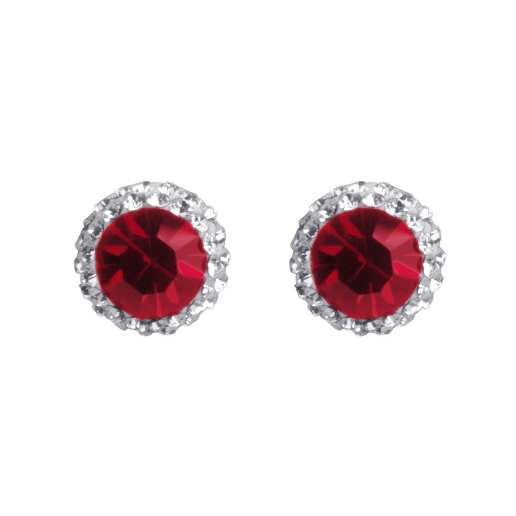 Sterling Silver Red Crystal July Birthstone Earrings
