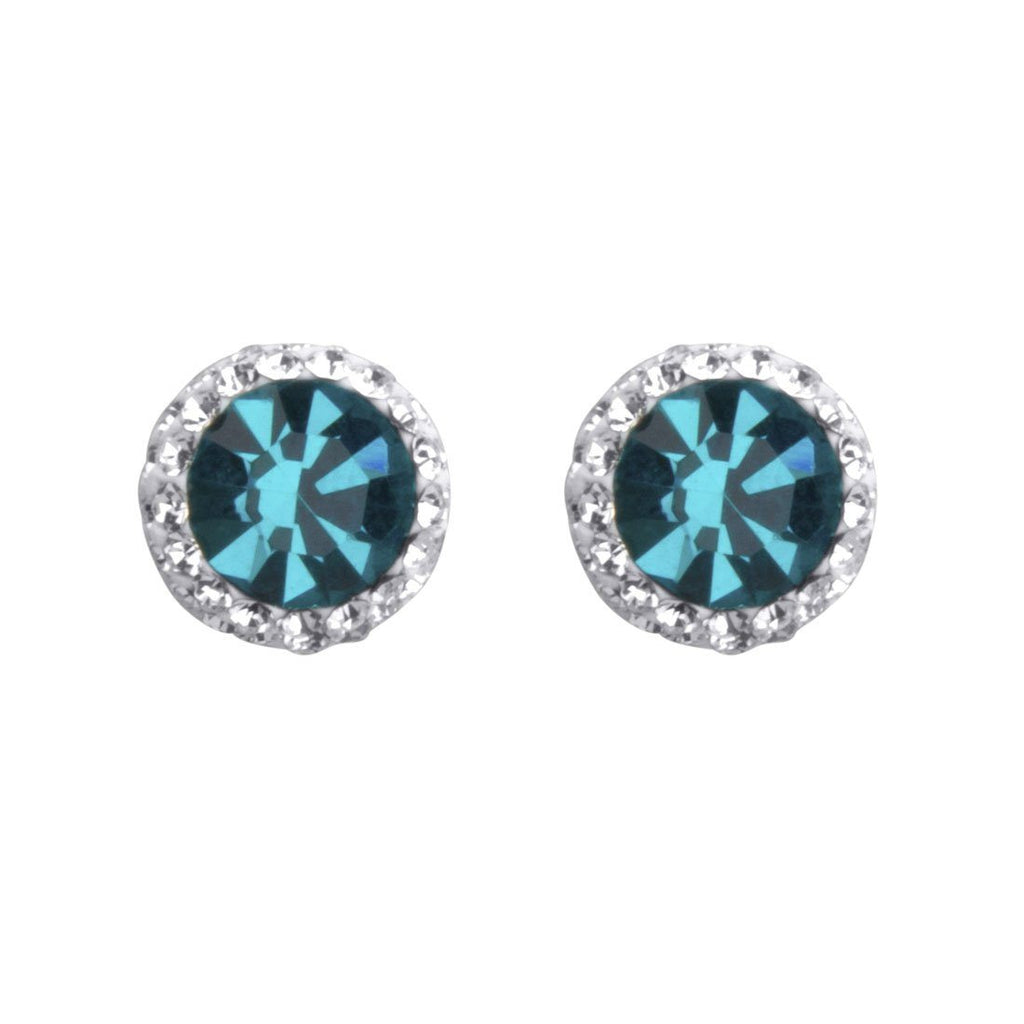 Sterling Silver Aqua Crystal December Birthstone Earrings