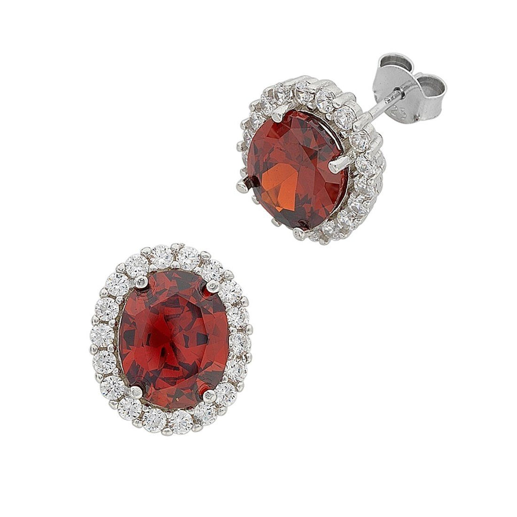 January Birthstone Sterling Silver Red Cubic Zirconia Earrings