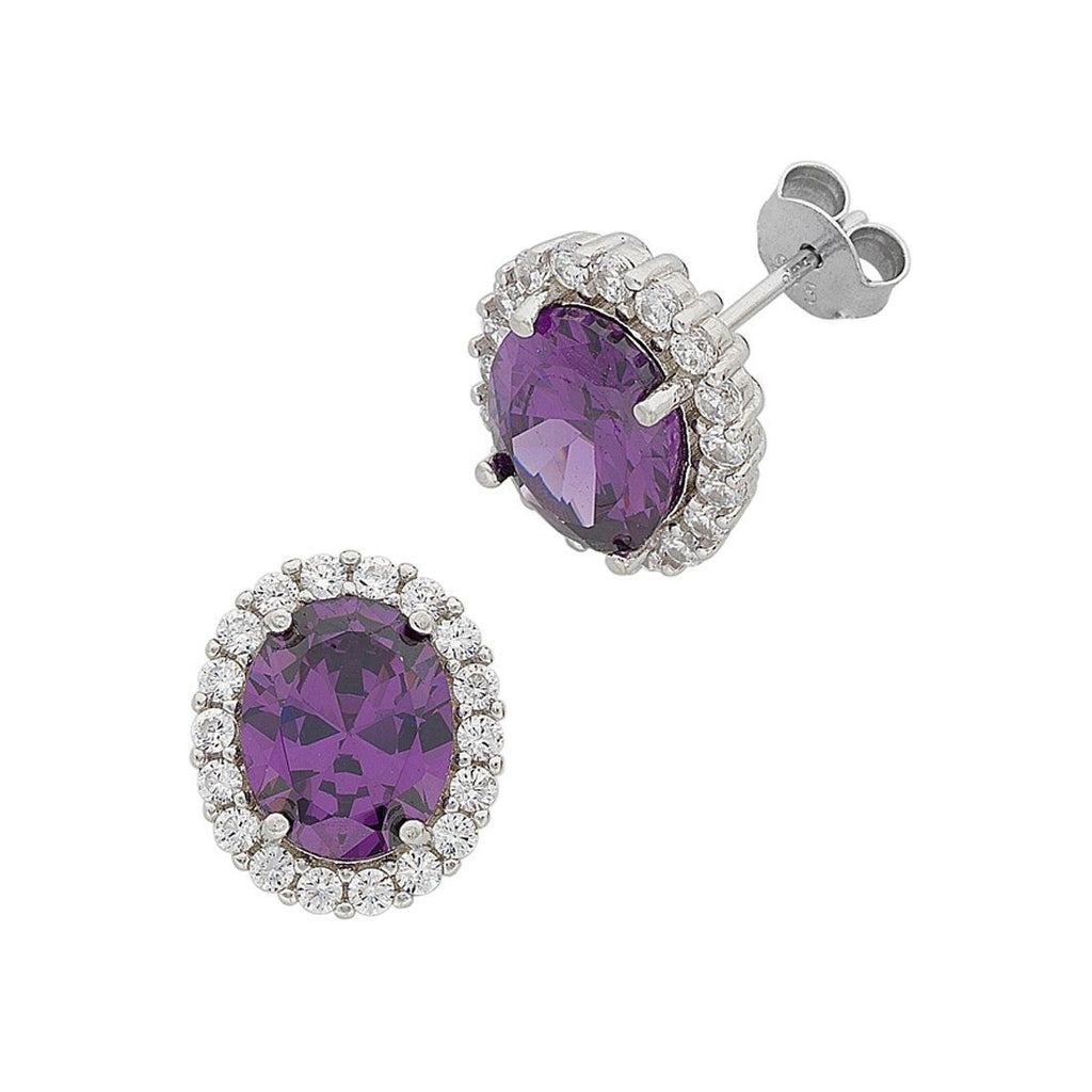 February Birthstone Sterling Silver Purple Cubic Zirconia Earrings