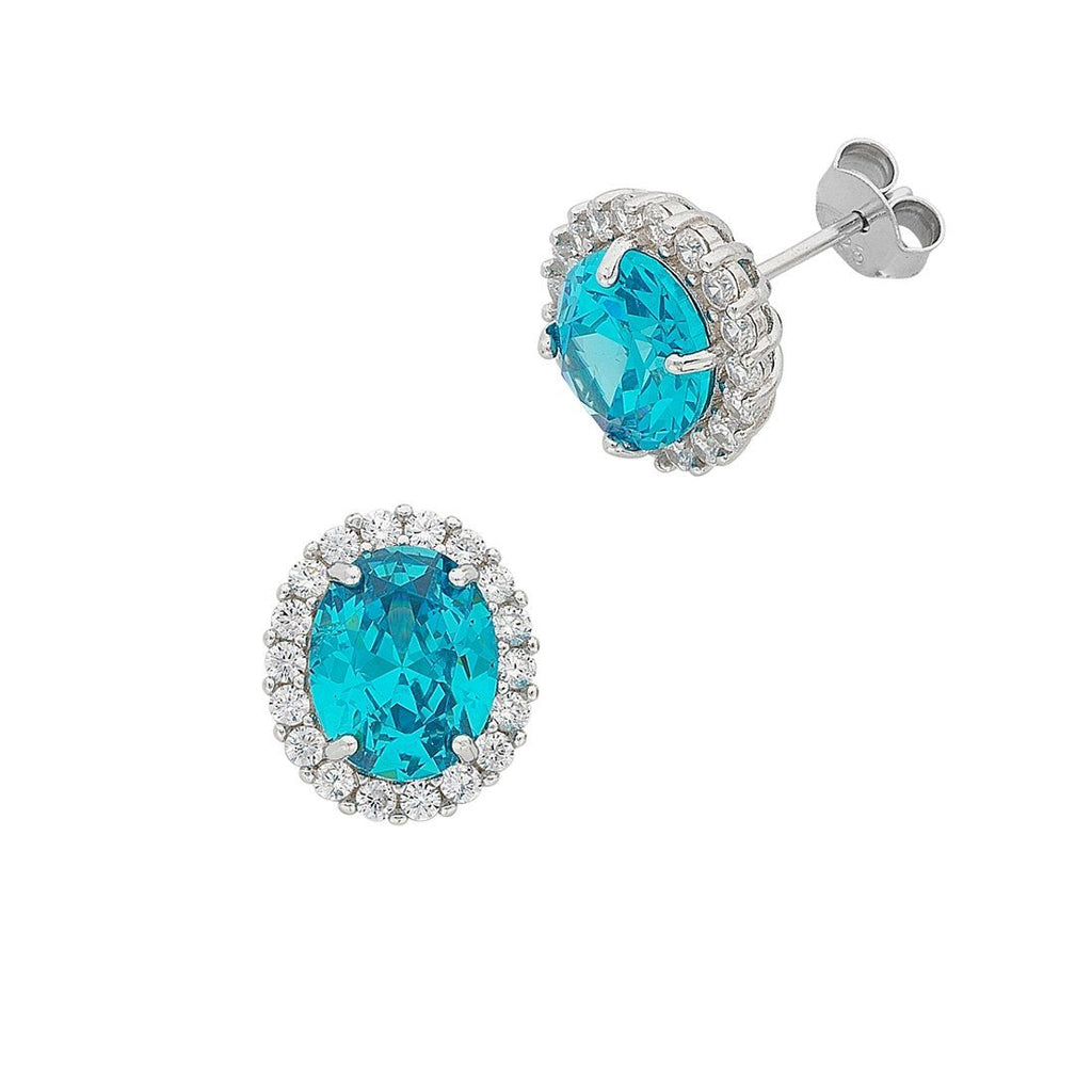 March Birthstone Sterling Silver Light Blue Cubic Zirconia Earrings