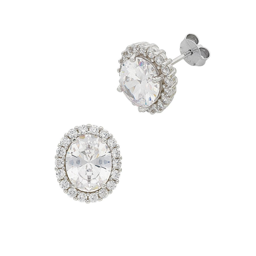 April Birthstone Sterling Silver Cubic Zirconia Earrings Earrings Bevilles