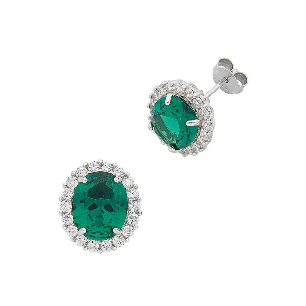 May Birthstone Sterling Silver Dark Green Cubic Zirconia Earrings