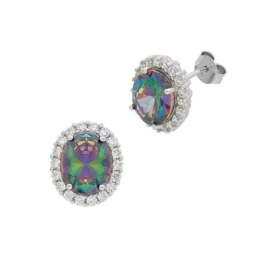 June Birthstone Sterling Silver Mystic Cubic Zirconia Earrings